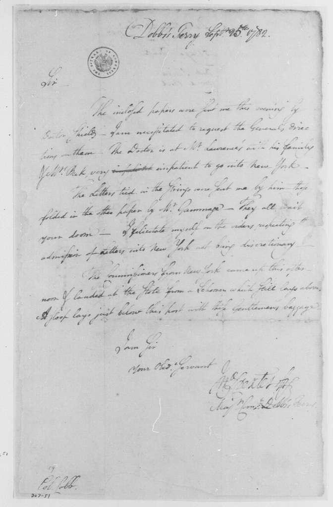 George Washington Papers, Series 4, General Correspondence: John S. Dexter to David Cobb, September 25, 1782