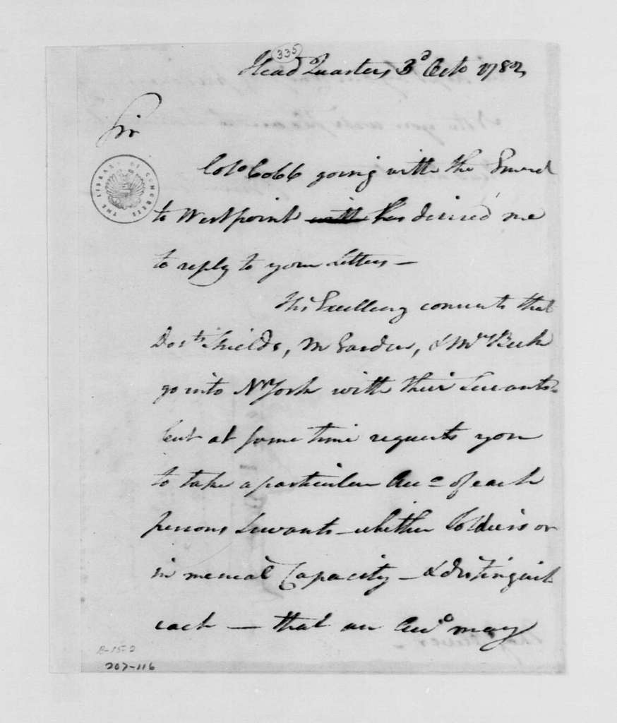 George Washington Papers, Series 4, General Correspondence: Jonathan Trumbull Jr. to Robert Oliver, October 3, 1782
