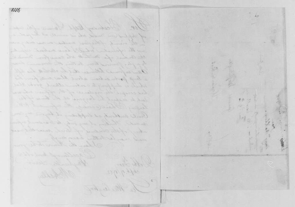 George Washington Papers, Series 4, General Correspondence: Moses Ashley to George Washington, September 17, 1782, 19-Century Transcription by William B. Sprague