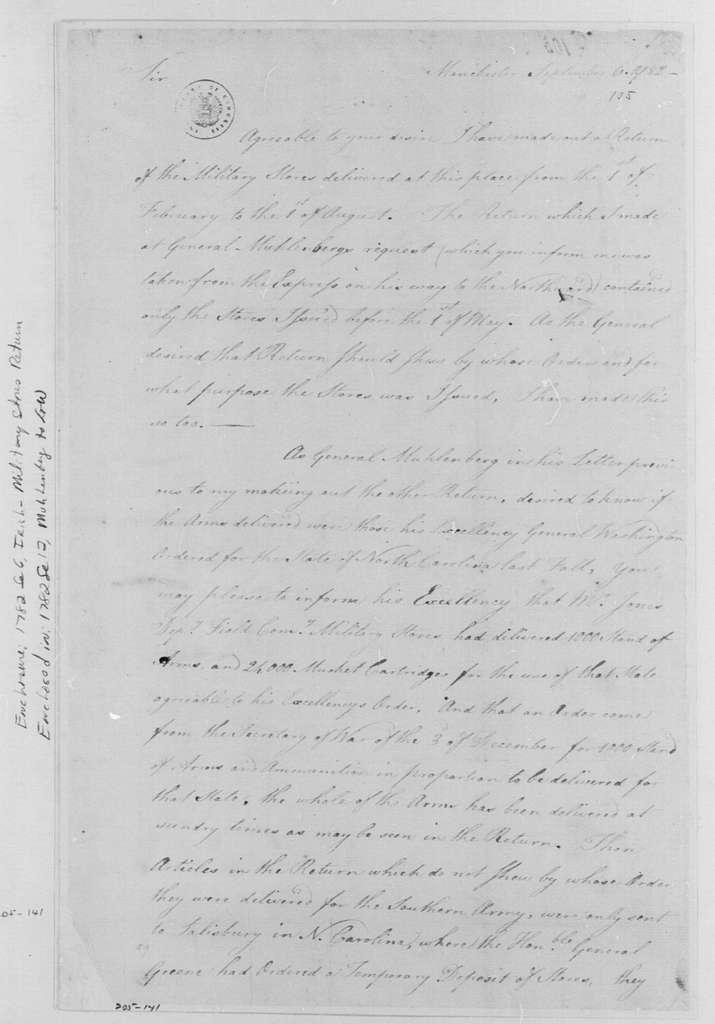 George Washington Papers, Series 4, General Correspondence: Nathaniel Irish to Peter Muhlenberg, September 6, 1782, with Store Returns