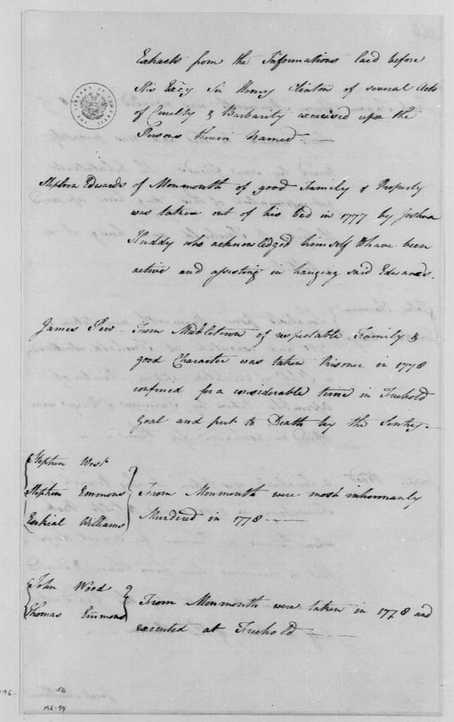 George Washington Papers, Series 4, General Correspondence: New York and New Jersey Loyalists to Henry Clinton, May 1, 1782, Extracts of Abuses