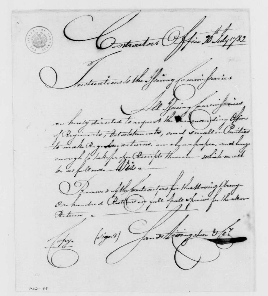 George Washington Papers, Series 4, General Correspondence: Sands, Livingston & Company to Issue Commissary, July 20, 1782, Instructions