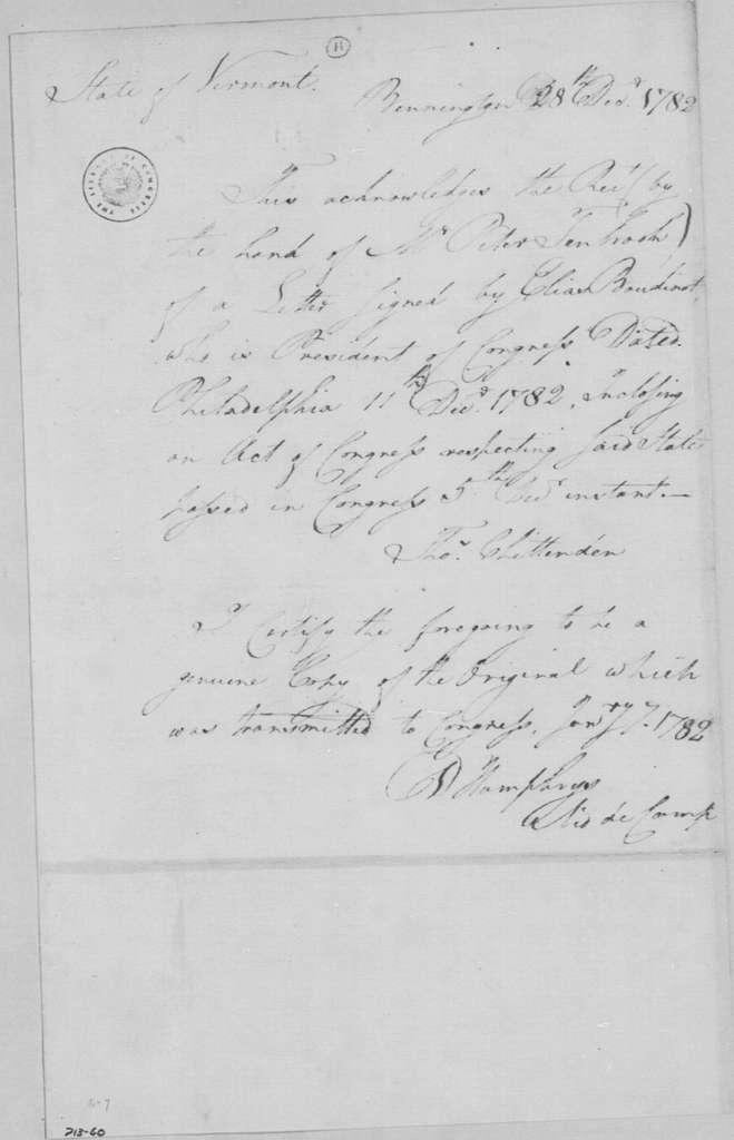 George Washington Papers, Series 4, General Correspondence: Thomas Chittenden to Peter Ten Broeck, December 28, 1782, Receipt