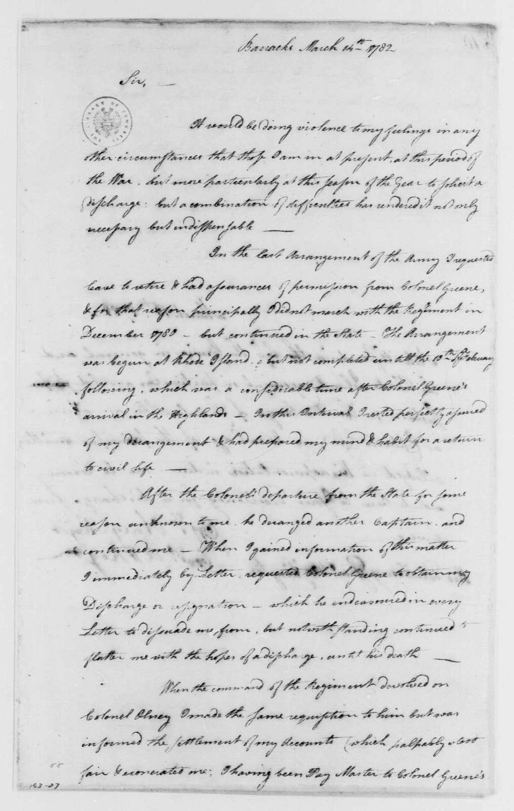 George Washington Papers, Series 4, General Correspondence: Thomas Cole and Coggeshall Olney to George Washington, March 14, 1782