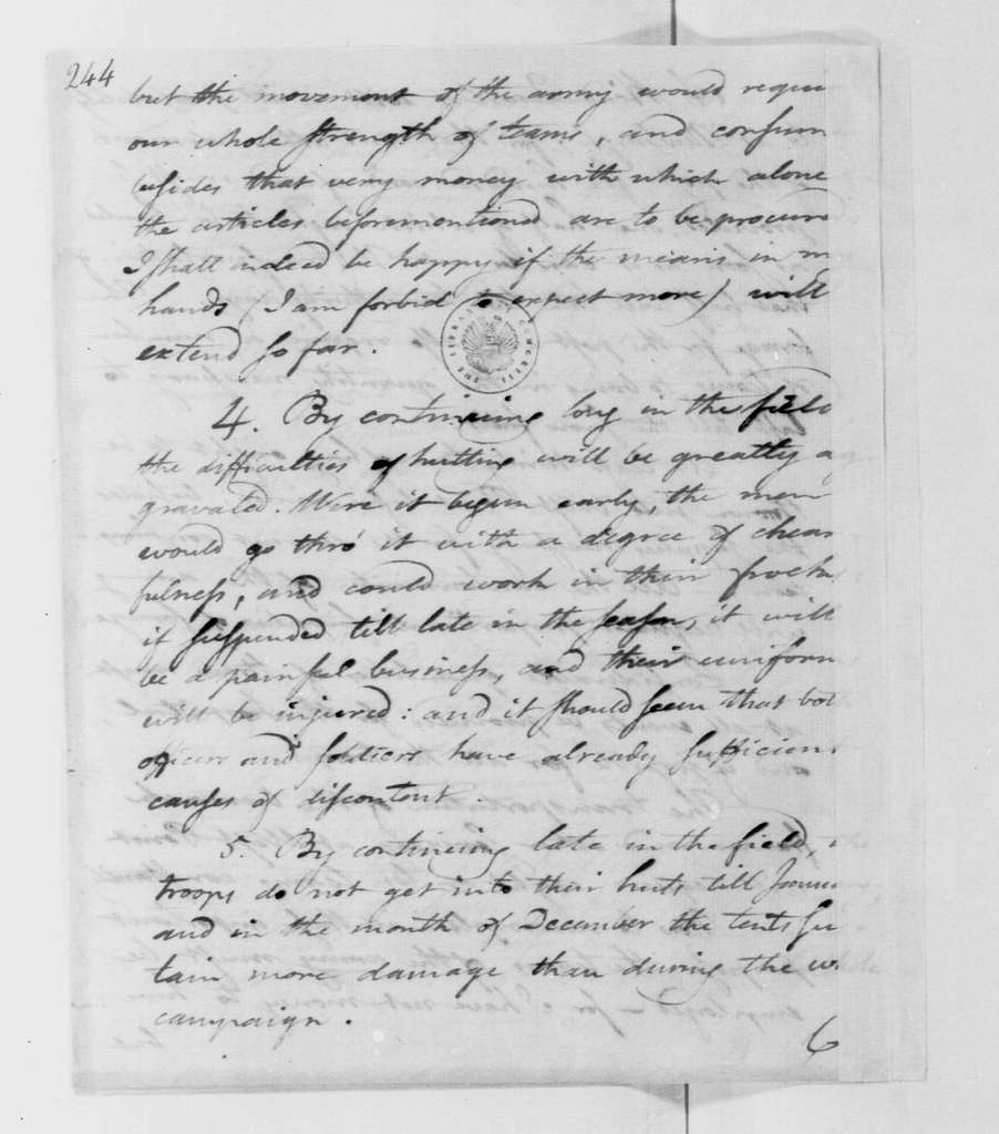 George Washington Papers, Series 4, General Correspondence: Timothy Pickering to David Cobb, October 3, 1782