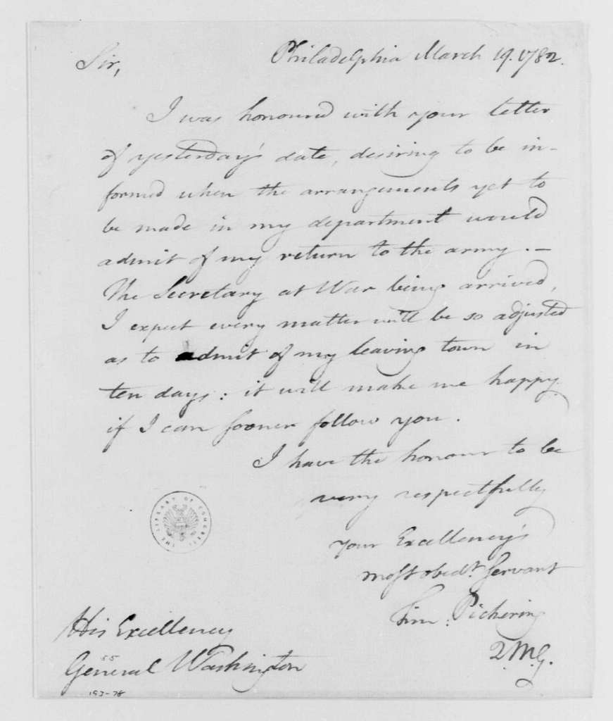 George Washington Papers, Series 4, General Correspondence: Timothy Pickering to George Washington, March 19, 1782