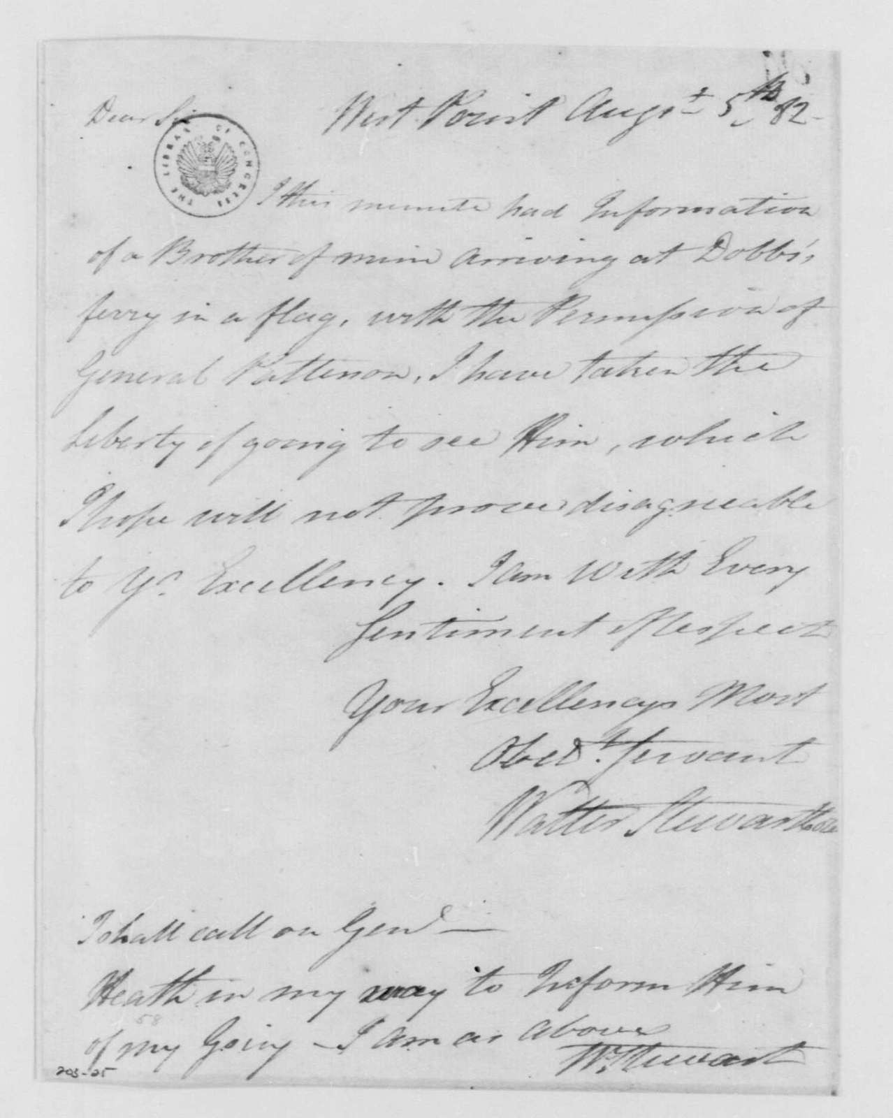 George Washington Papers, Series 4, General Correspondence: Walter Stewart to George Washington, August 5, 1782