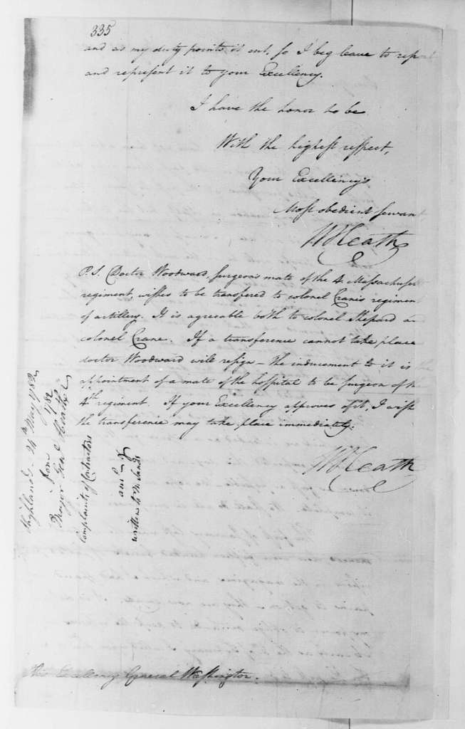 George Washington Papers, Series 4, General Correspondence: William Heath to George Washington, May 24, 1782