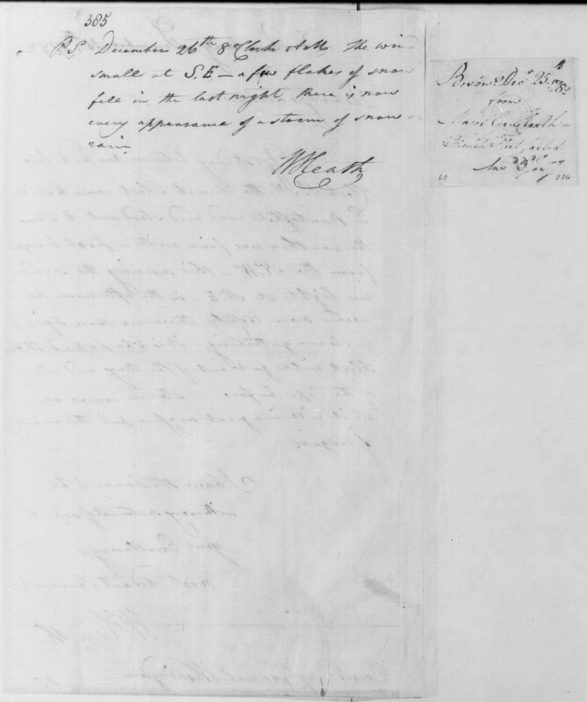 George Washington Papers, Series 4, General Correspondence: William Heath to George Washington, December 25, 1782