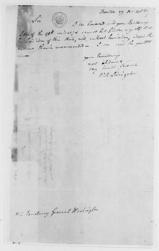 George Washington Papers, Series 4, General Correspondence: William Livingston to George Washington, October 29, 1782