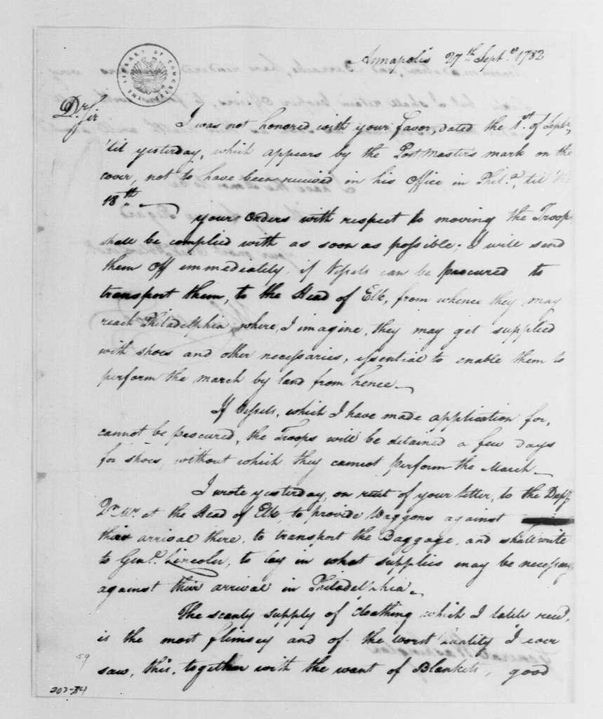 George Washington Papers, Series 4, General Correspondence: William Smallwood to George Washington, September 27, 1782