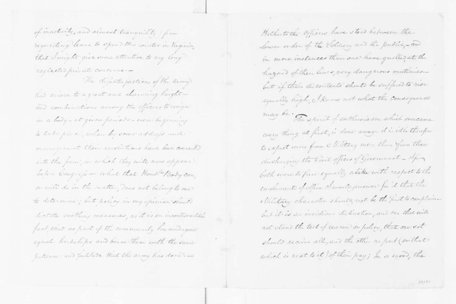 George Washington to Joseph Jones, December 14, 1782.
