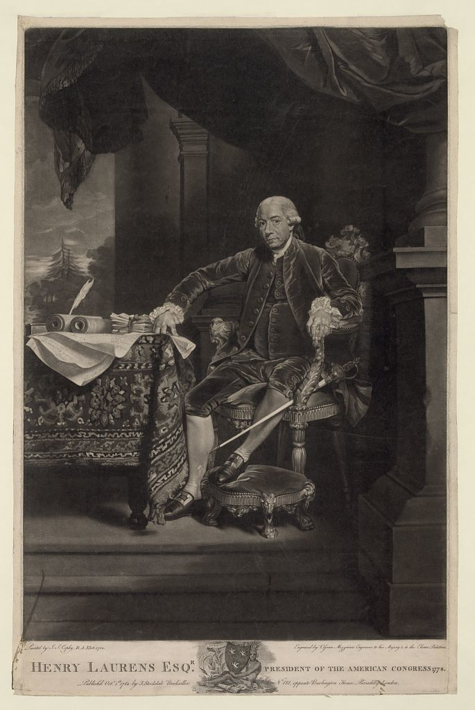 Henry Laurens Esq'r. president of the American Congress 1778 / painted by J.S. Copley, R.A. elect. 1782 ; engraved by V. Green mezzotinto engraver to his Majesty & to the Elector Palatine.