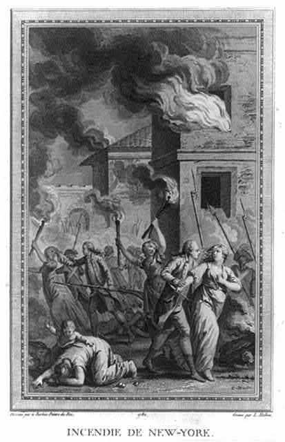 Incendie de New-York / dessiné par le Barbier peintre du Roi ; gravé par L. Halbou sculp.