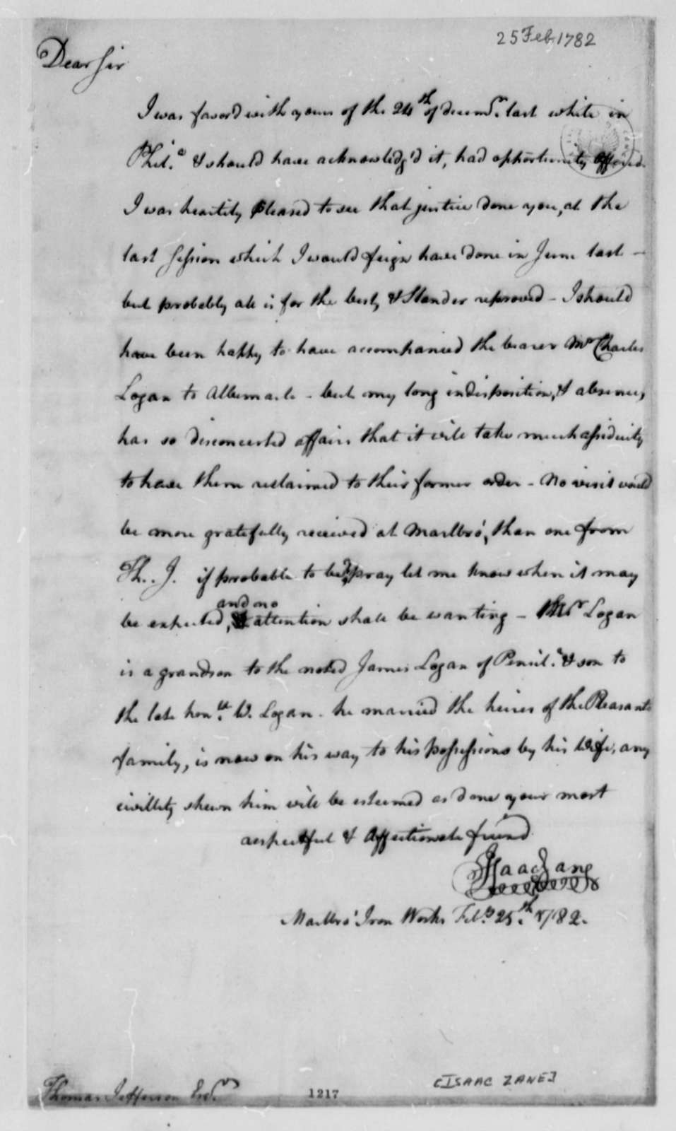 Isaac Zane to Thomas Jefferson, February 25, 1782