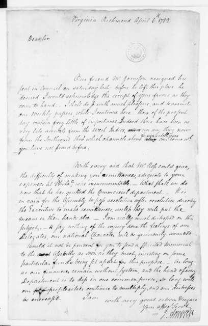 Jacquelin Ambler to James Madison, April 6, 1782.