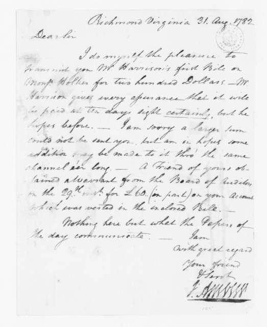 Jacquelin Ambler to James Madison, August 31, 1782.