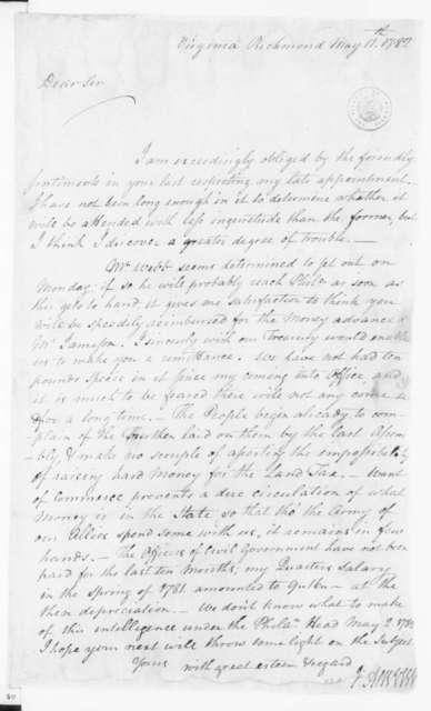Jacquelin Ambler to James Madison, May 10, 1782.