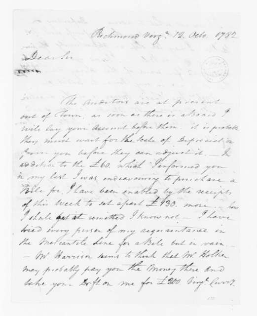 Jacquelin Ambler to James Madison, October 12, 1782.