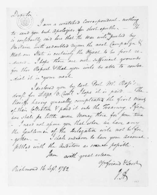 Jacquelin Ambler to James Madison, September 17, 1782.