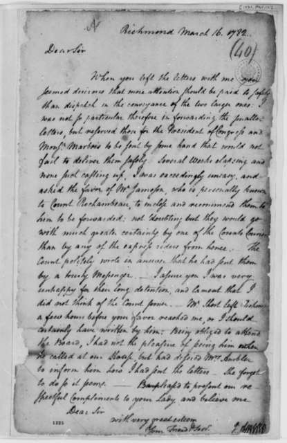 Jacquelin Ambler to Thomas Jefferson, March 16, 1782