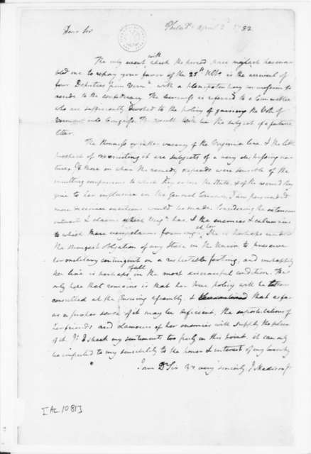 James Madison to E. Pendleton, April 2, 1782.