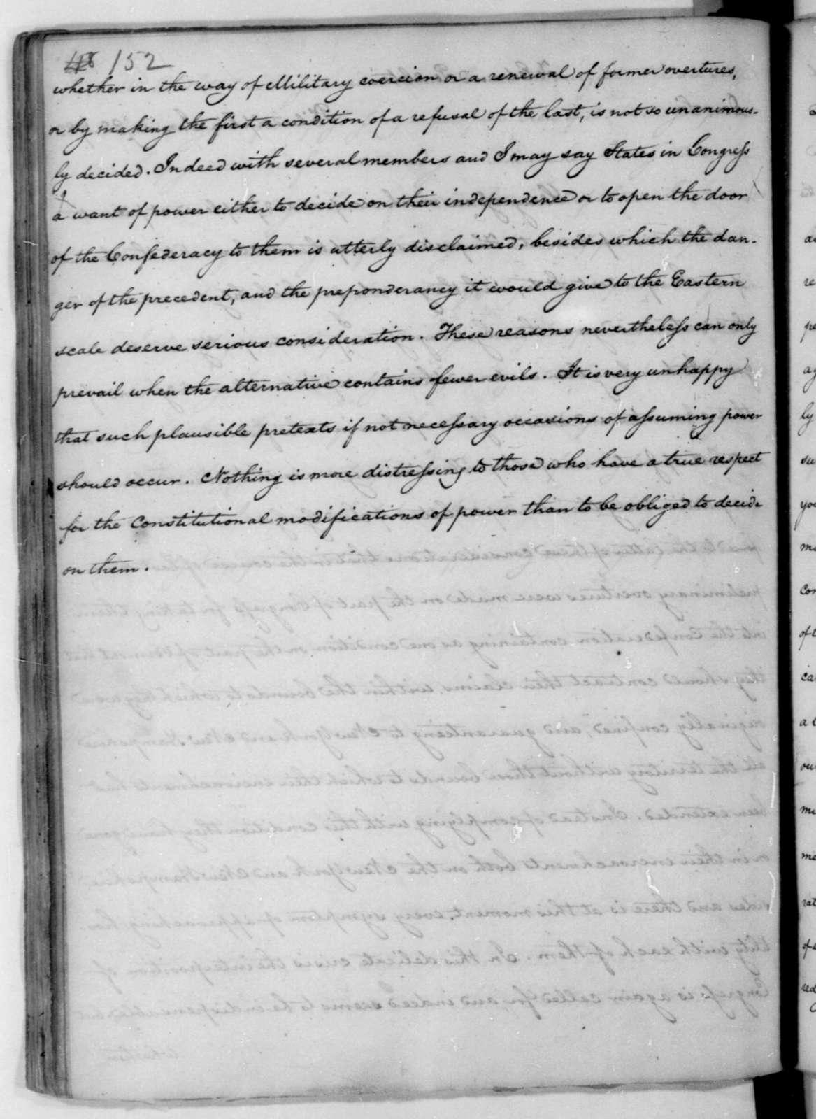 James Madison to Edmund Pendleton, January 22, 1782.