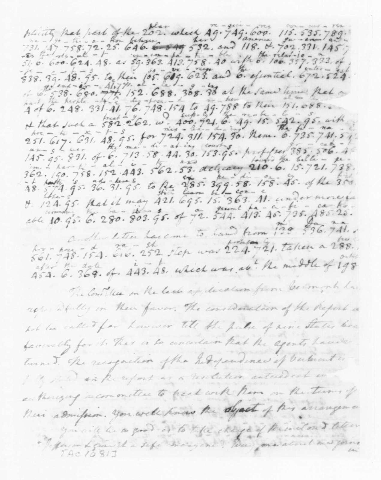 James Madison to Edmund Randolph, April 23, 1782. Incomplete; Partly in Cipher.