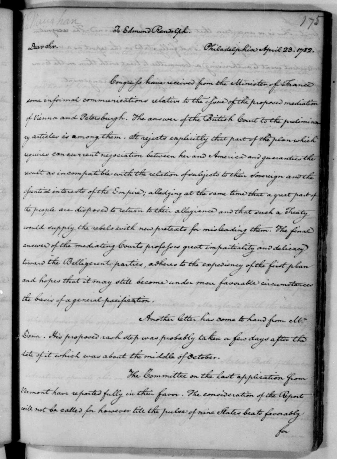 James Madison to Edmund Randolph, April 23, 1782. Notes.
