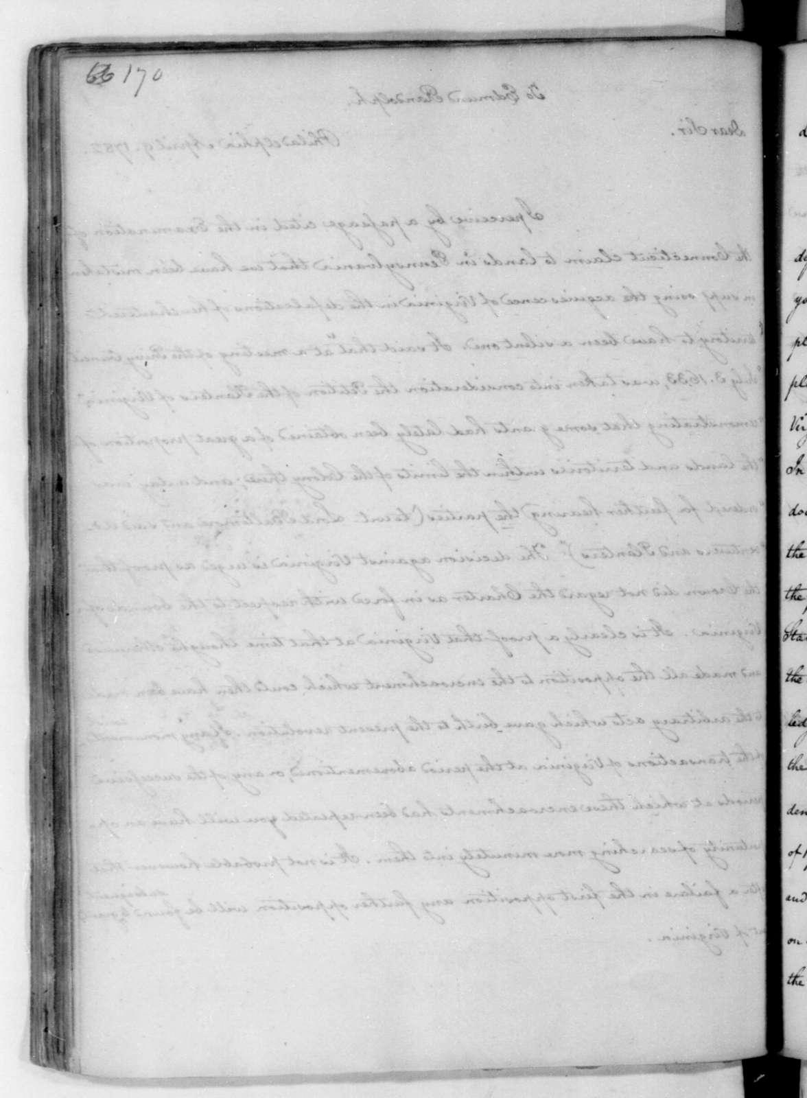 James Madison to Edmund Randolph, April 9, 1782.