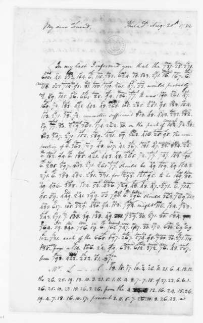 James Madison to Edmund Randolph, August 20, 1782. Partly in Cipher.