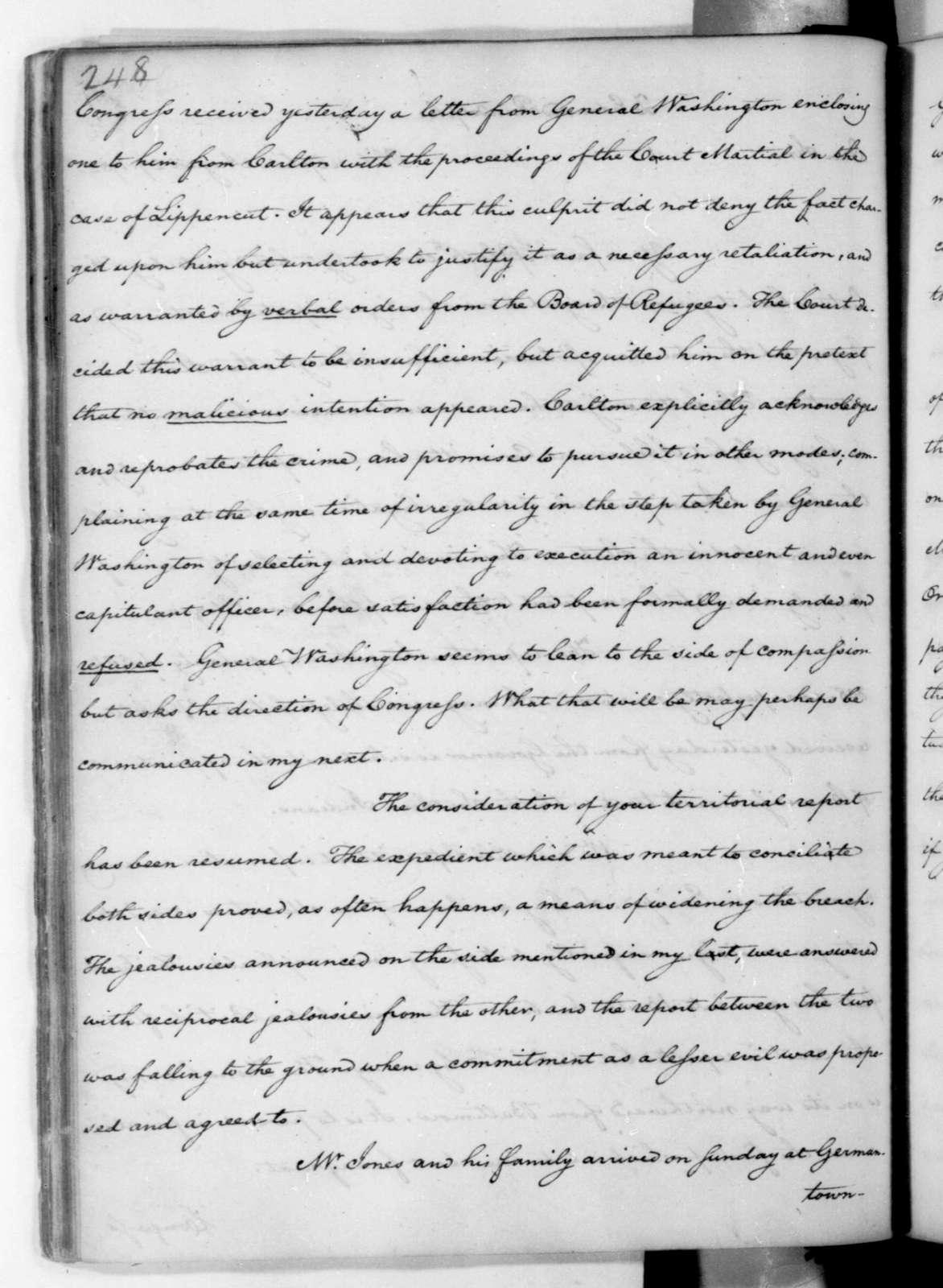 James Madison to Edmund Randolph, August 27, 1782.