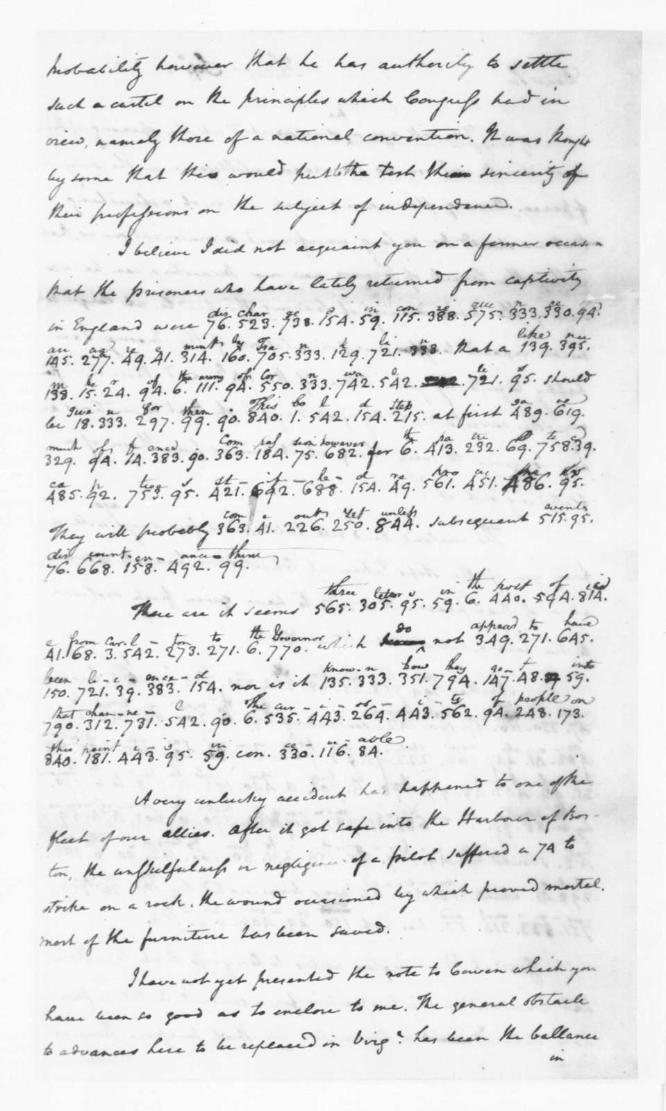 James Madison to Edmund Randolph, August,1782. Partly in Cypher.