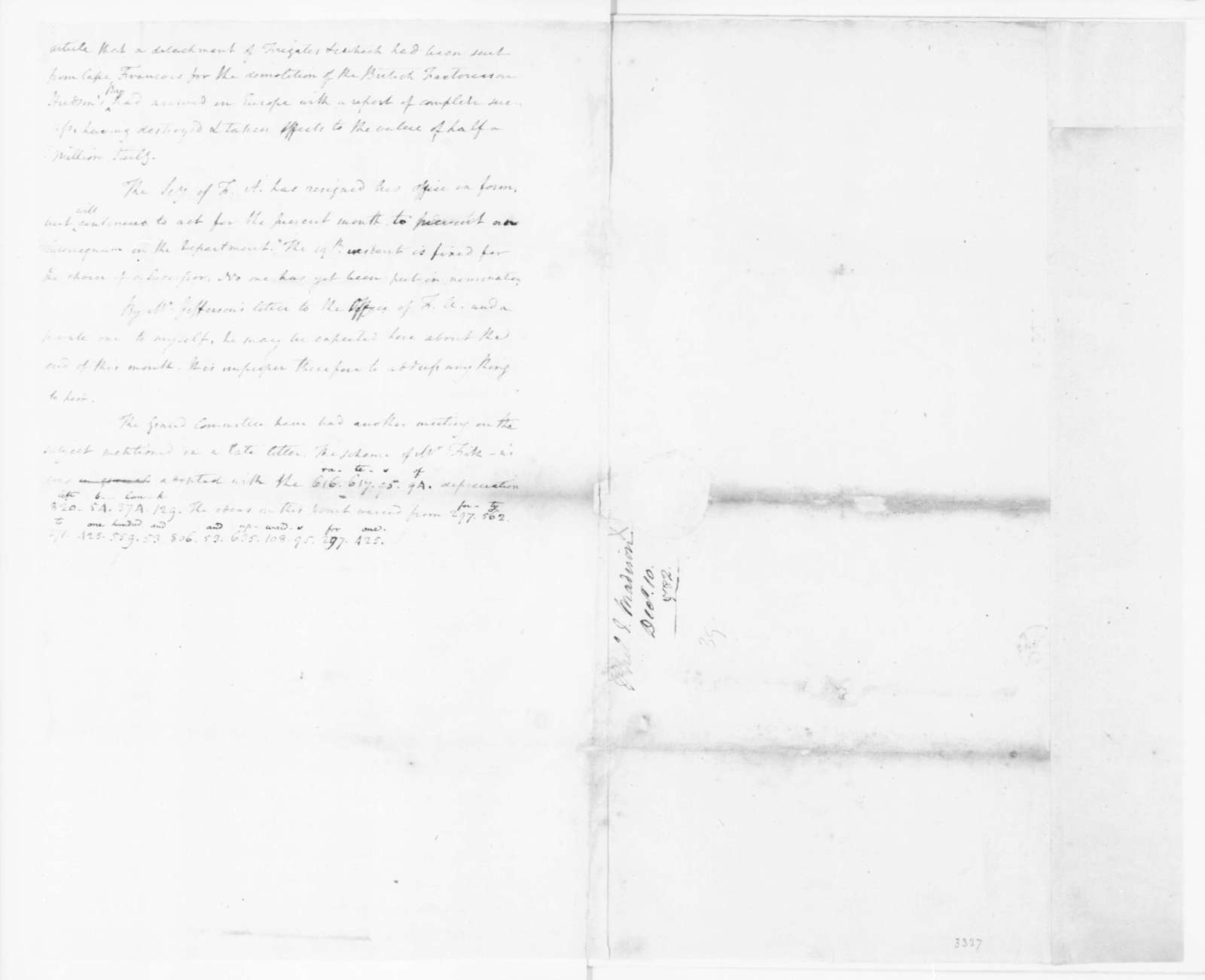 James Madison to Edmund Randolph, December 10, 1782. Partly in Cipher.