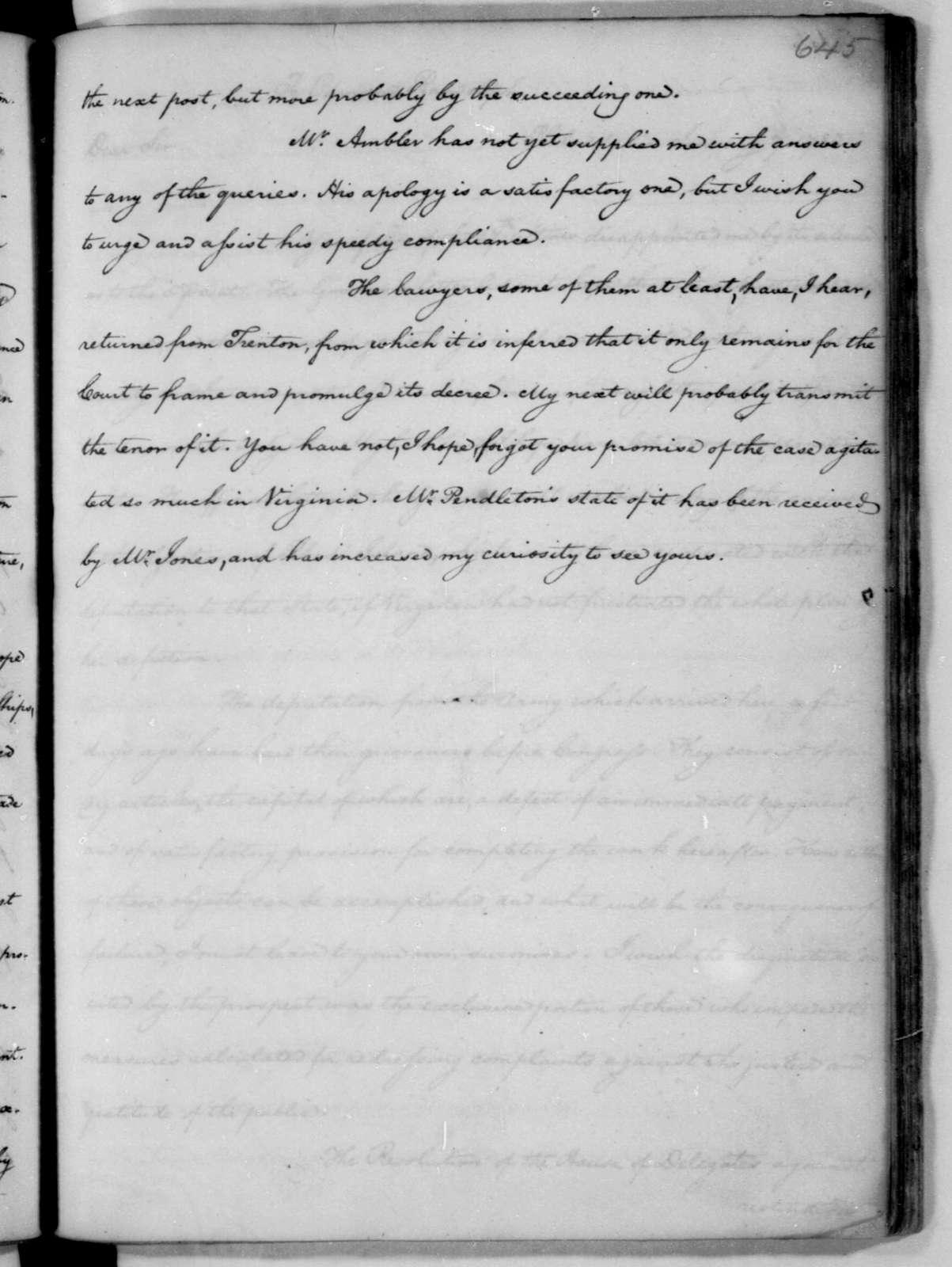 James Madison to Edmund Randolph, December 30, 1782.