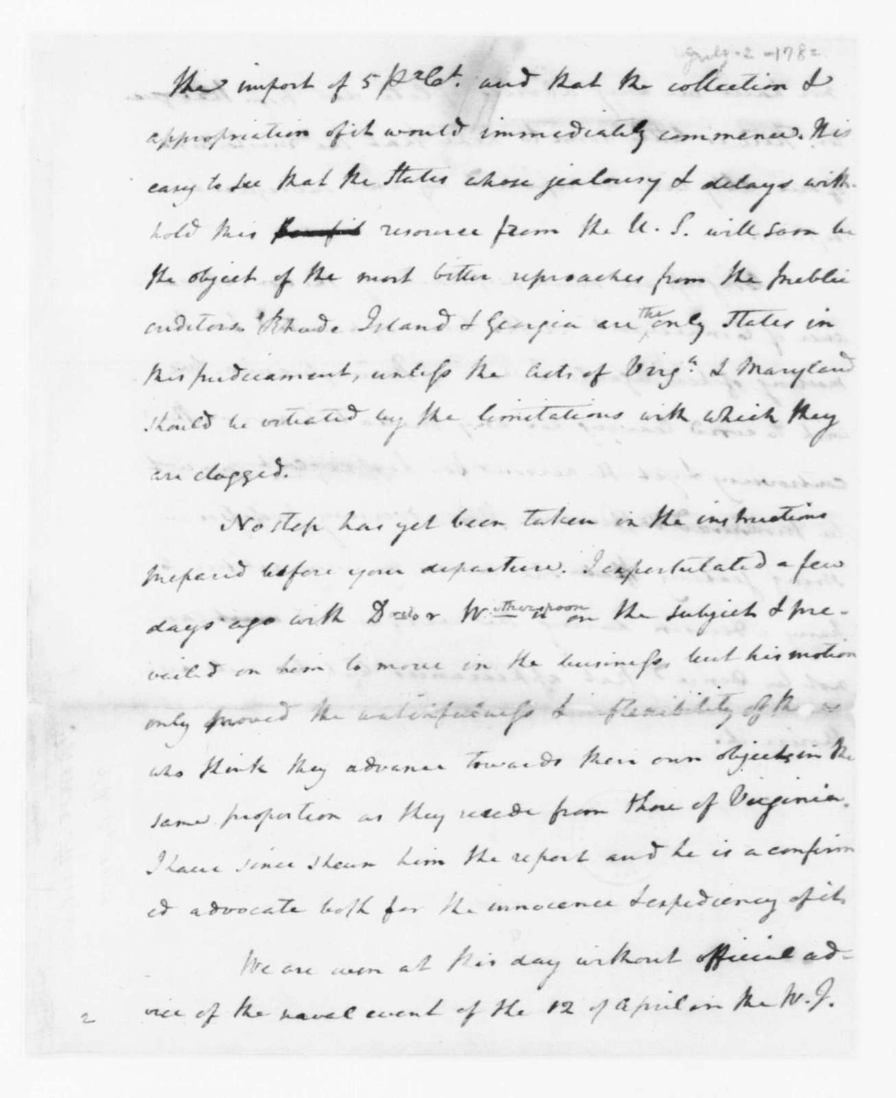 James Madison to Edmund Randolph, July 2, 1782. Partly in Cipher.