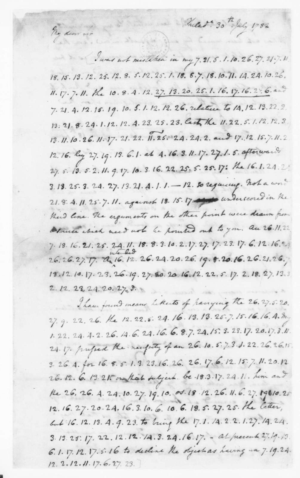 James Madison to Edmund Randolph, July 30, 1782. Partly in Cipher.