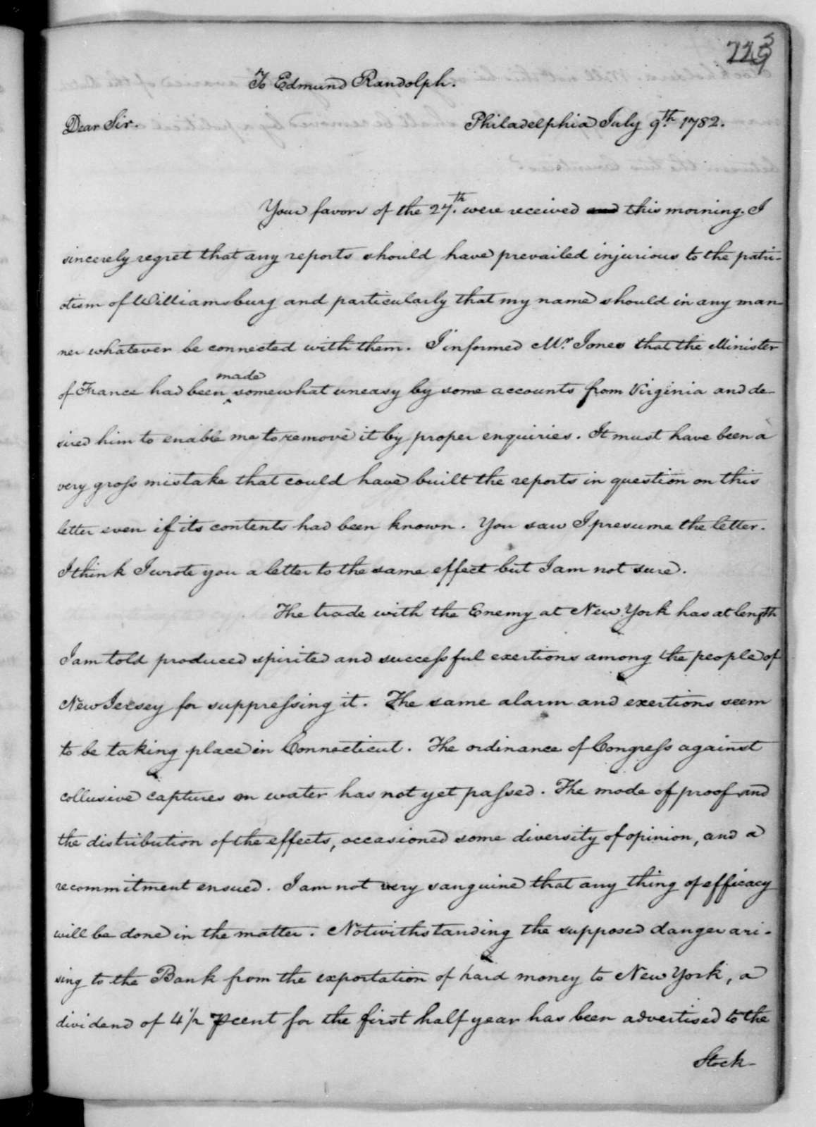 James Madison to Edmund Randolph, July 9, 1782.