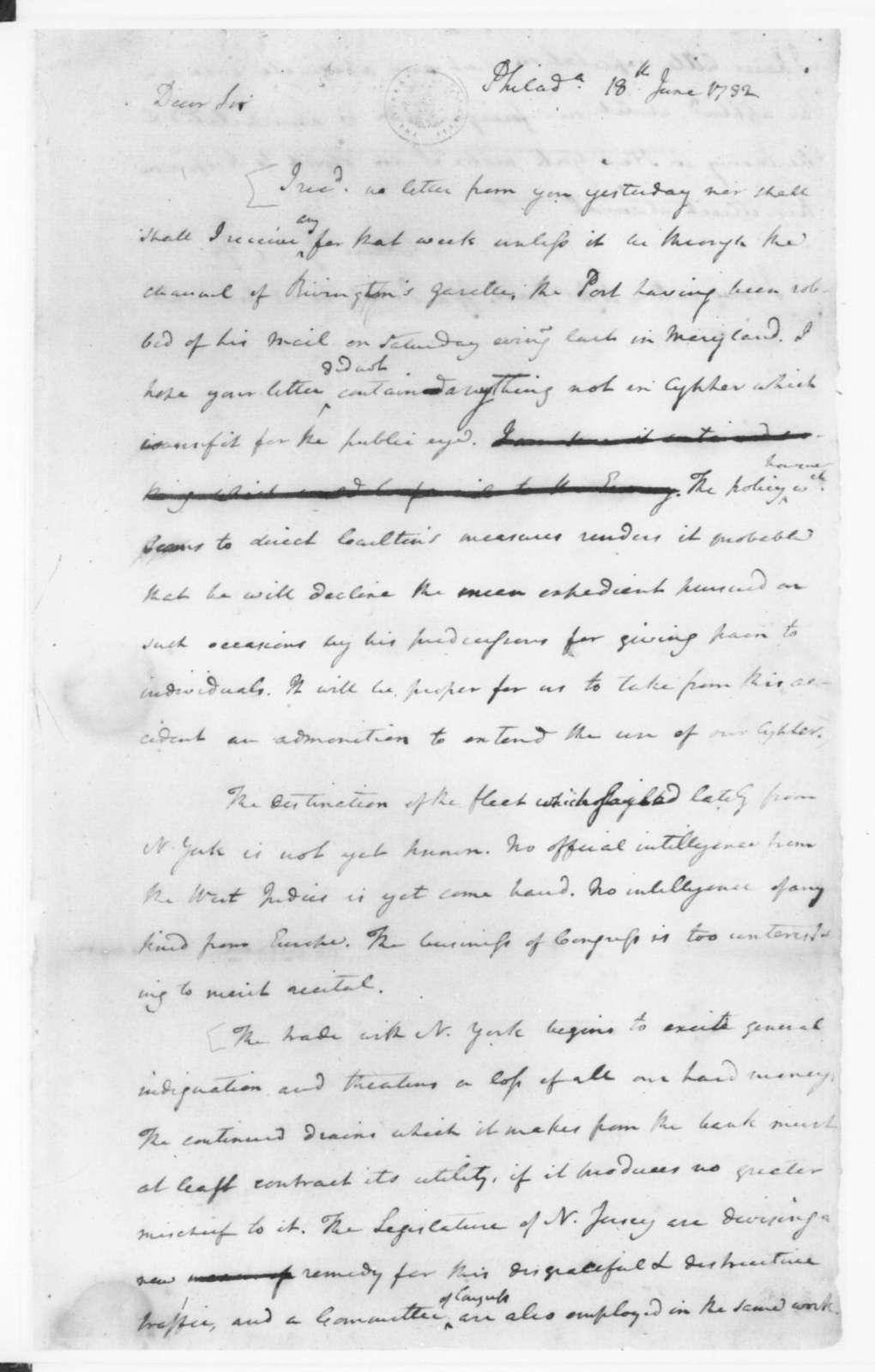 James Madison to Edmund Randolph, June 18, 1782.