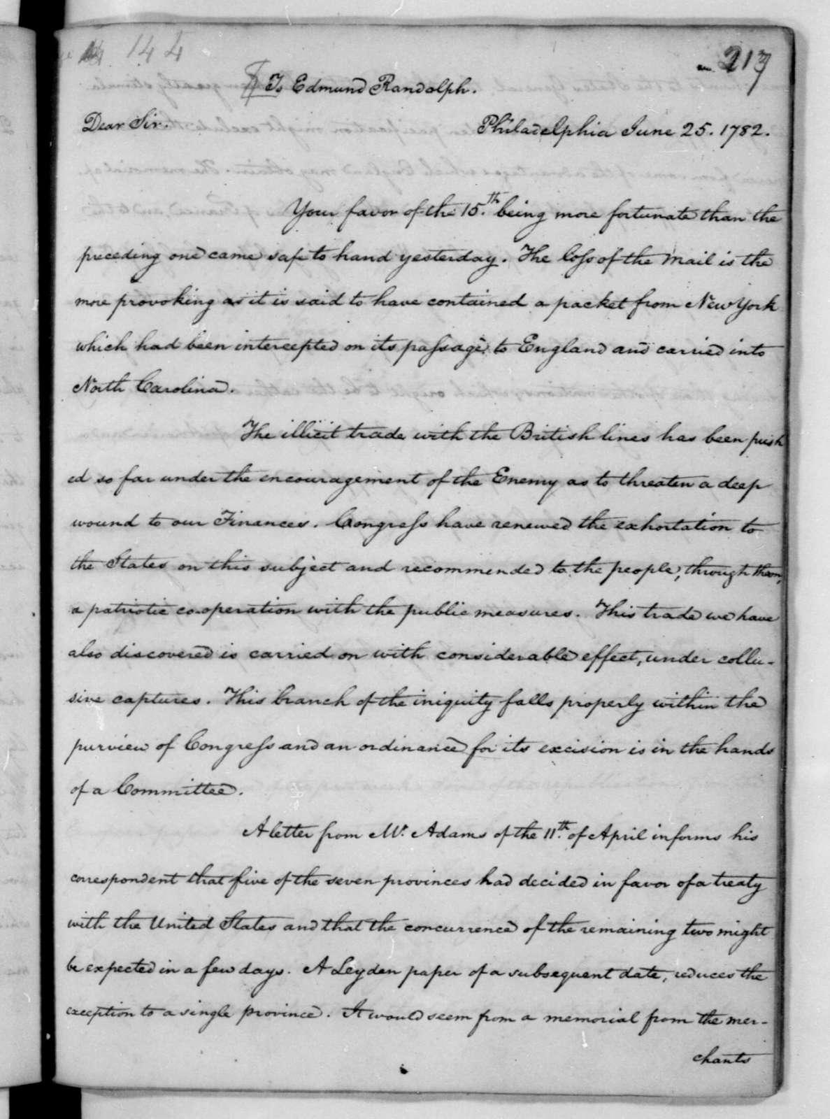 James Madison to Edmund Randolph, June 25, 1782.