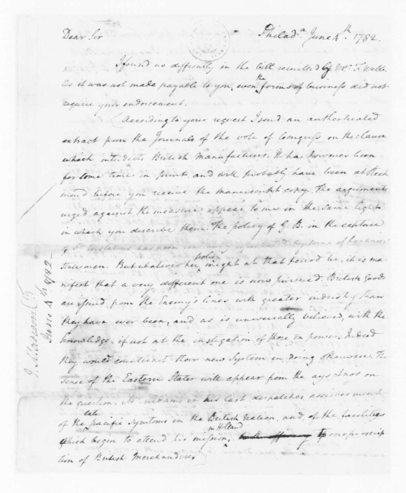 James Madison to Edmund Randolph, June 4, 1782. Partly in Cipher.