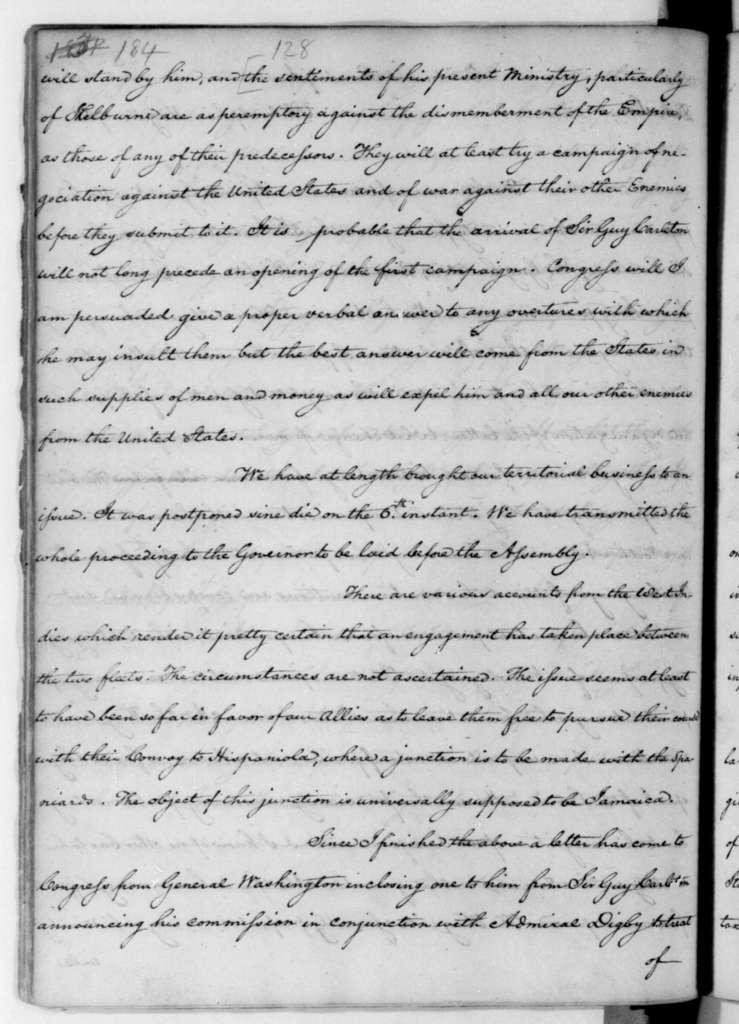 James Madison to Edmund Randolph, May 14, 1782.