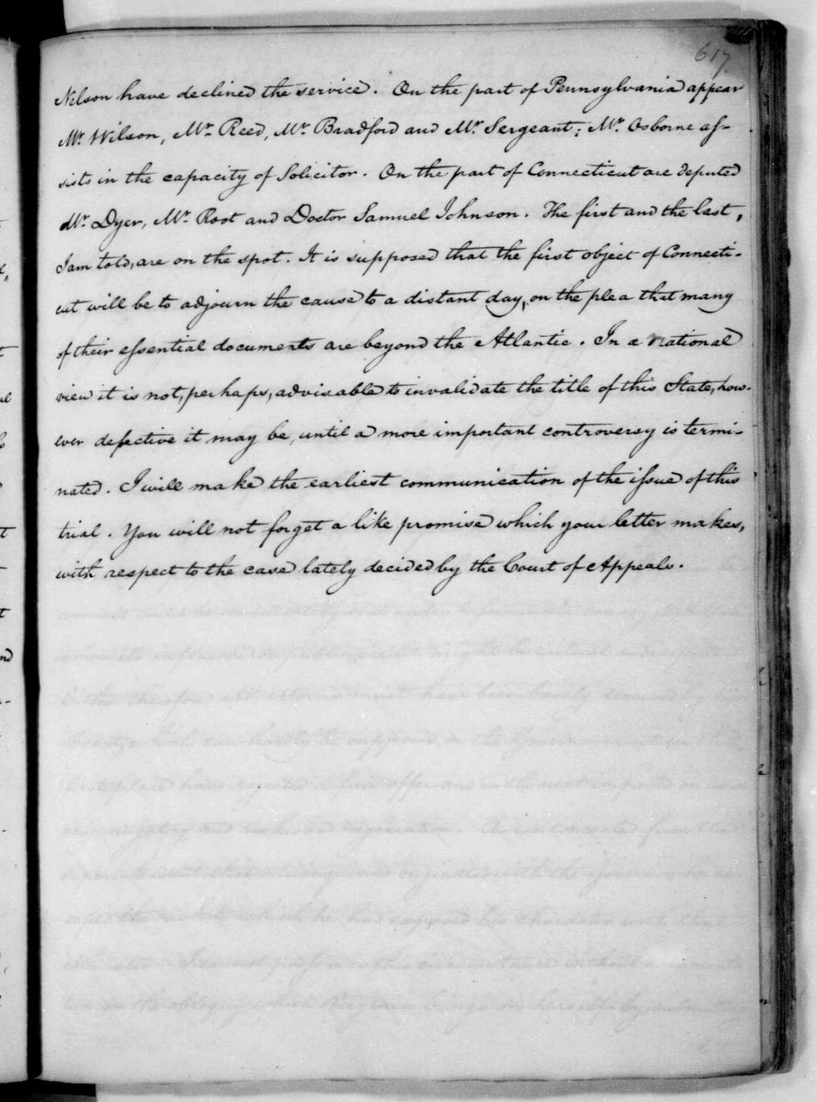 James Madison to Edmund Randolph, November 19, 1782.
