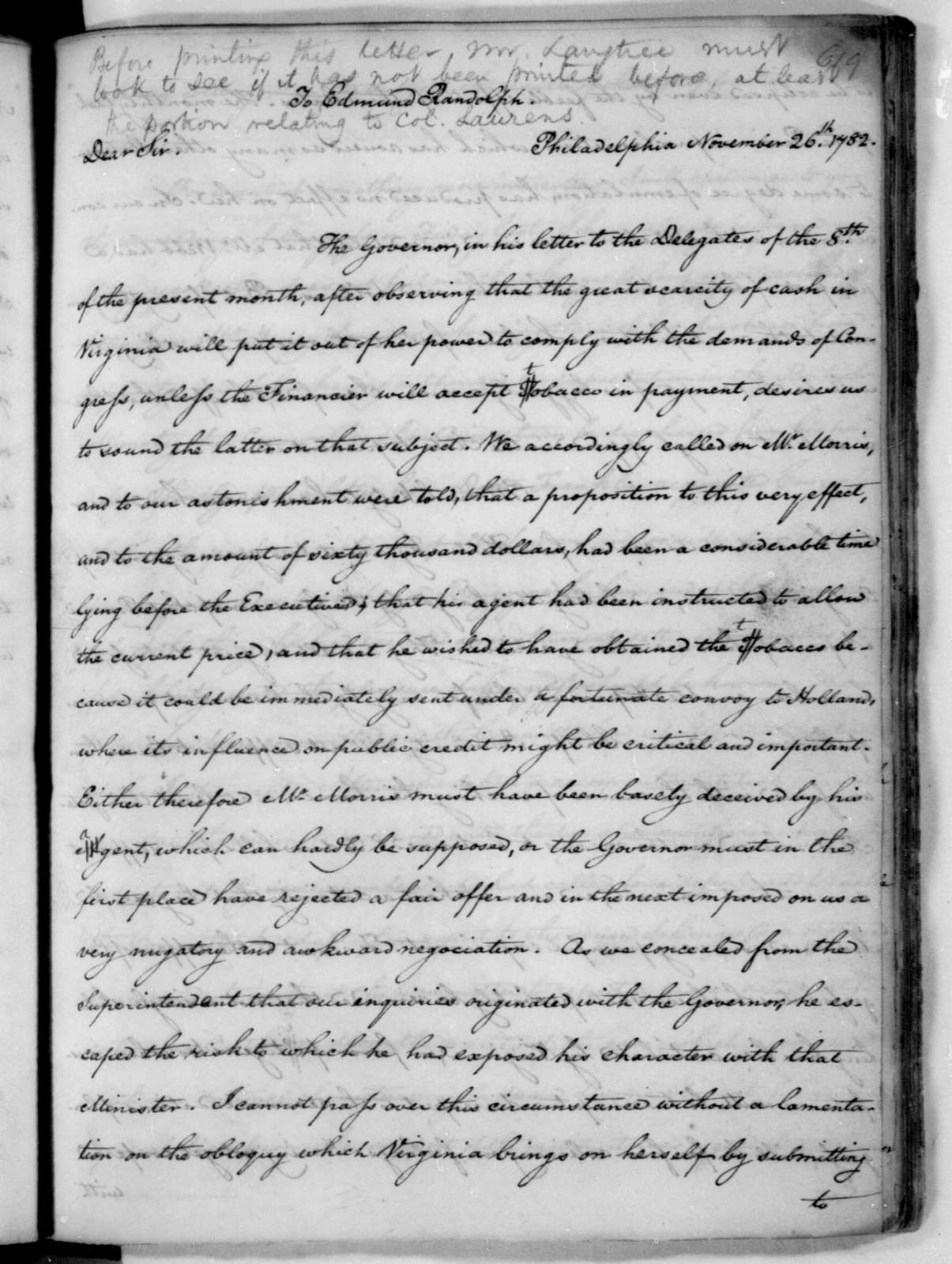 James Madison to Edmund Randolph, November 26, 1782.