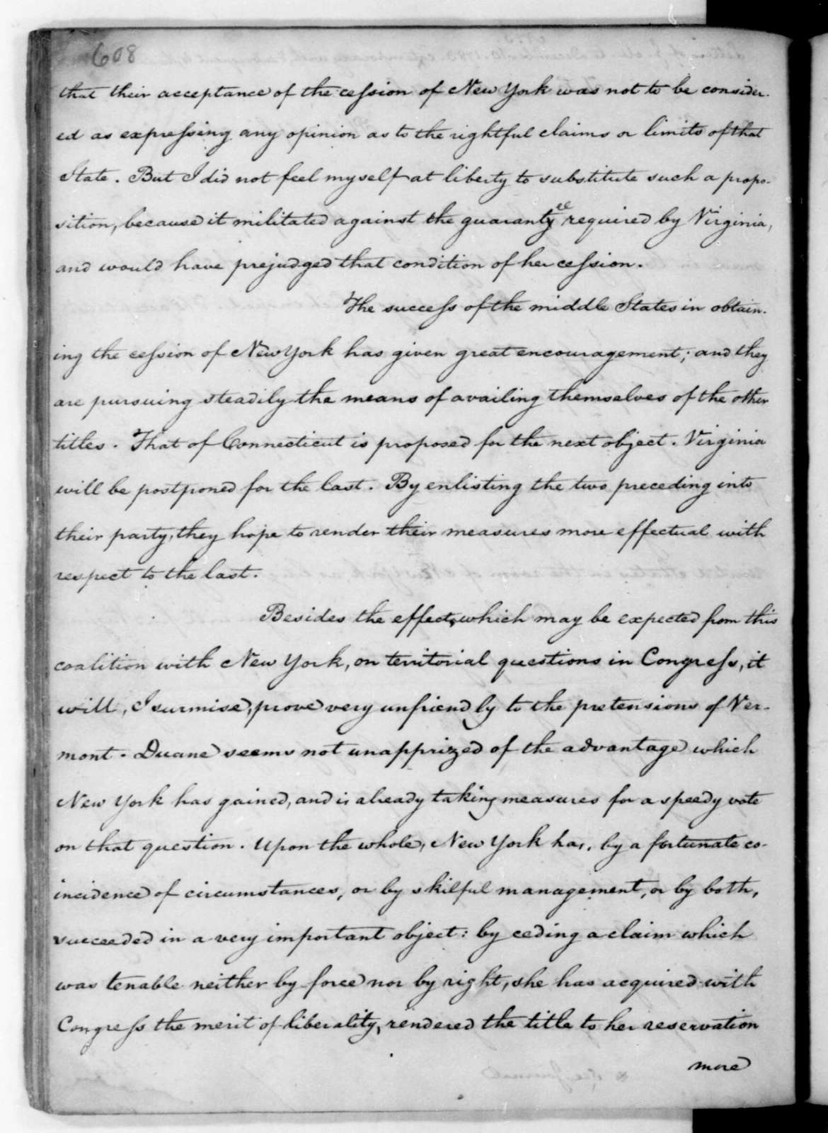 James Madison to Edmund Randolph, November 5, 1782.