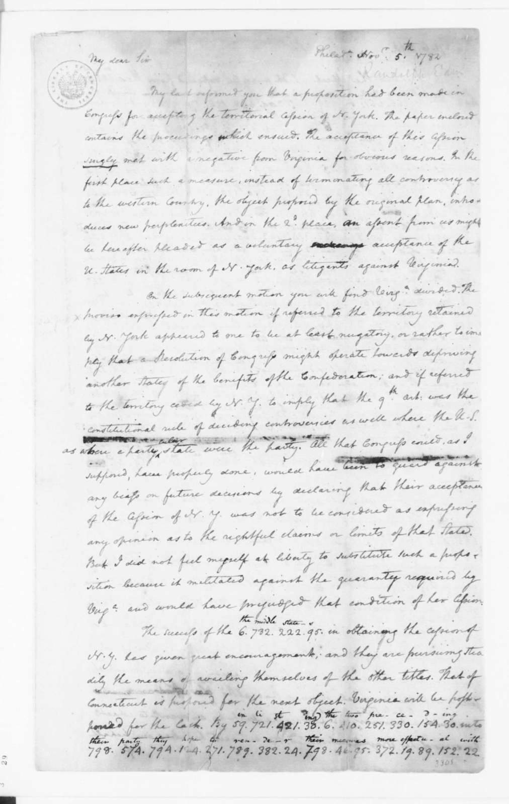 James Madison to Edmund Randolph, November 5, 1782. Partly in Cipher.