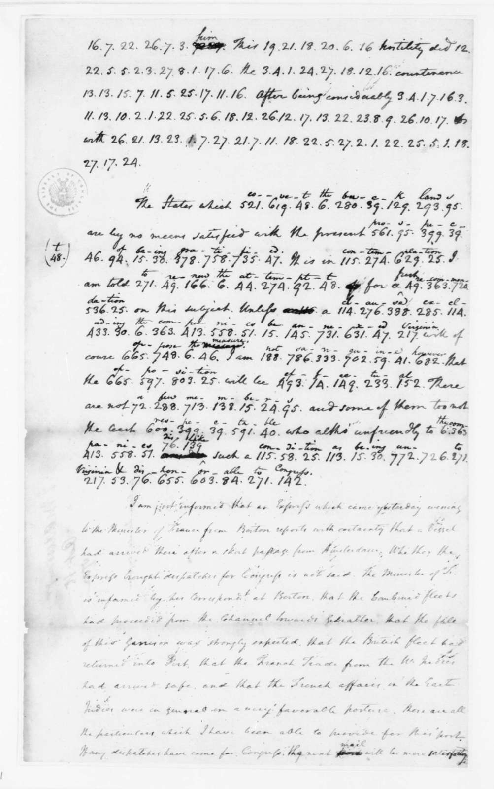 James Madison to Edmund Randolph, October 15, 1782. Partly in Cipher.