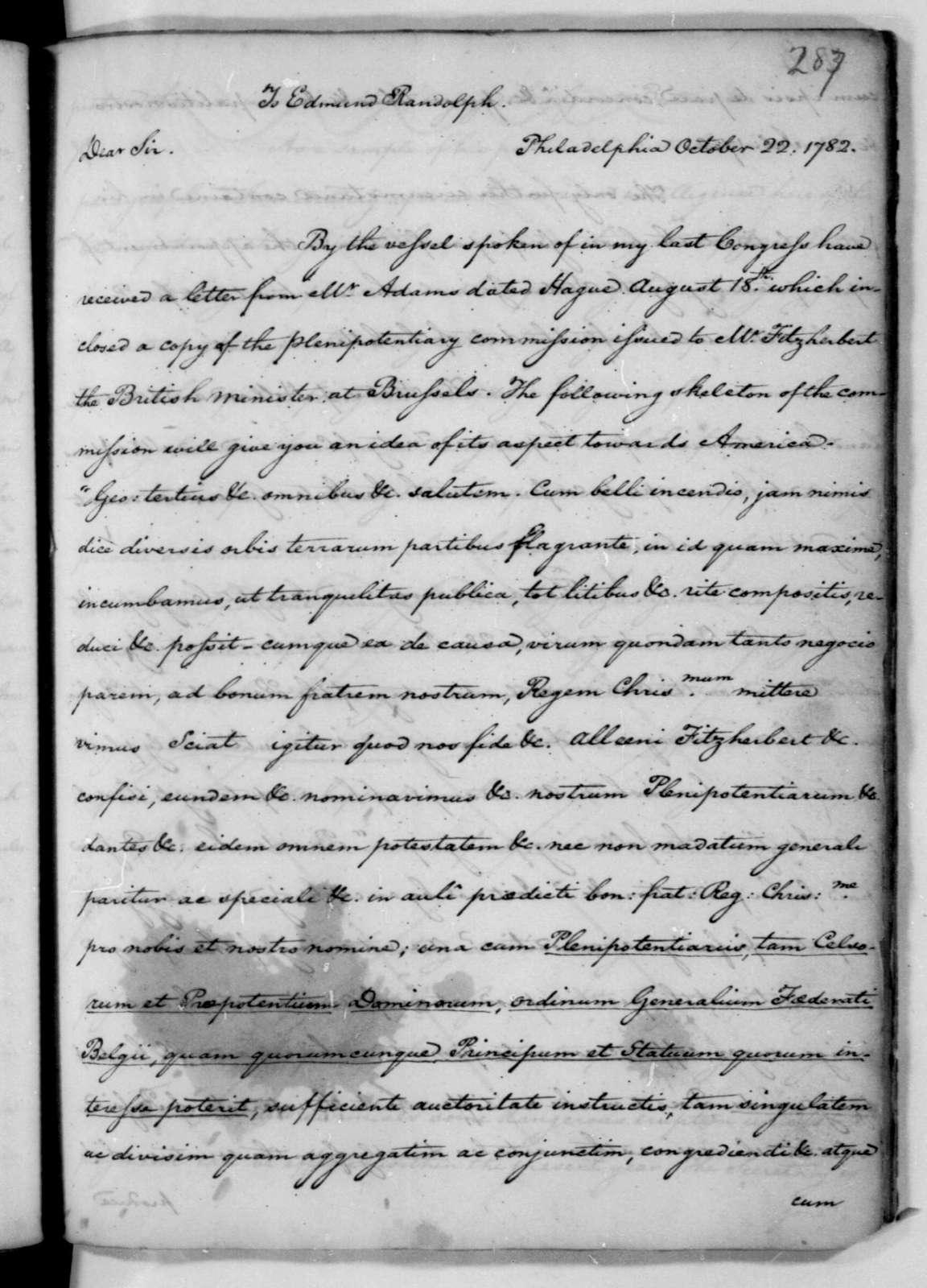 James Madison to Edmund Randolph, October 22, 1782.