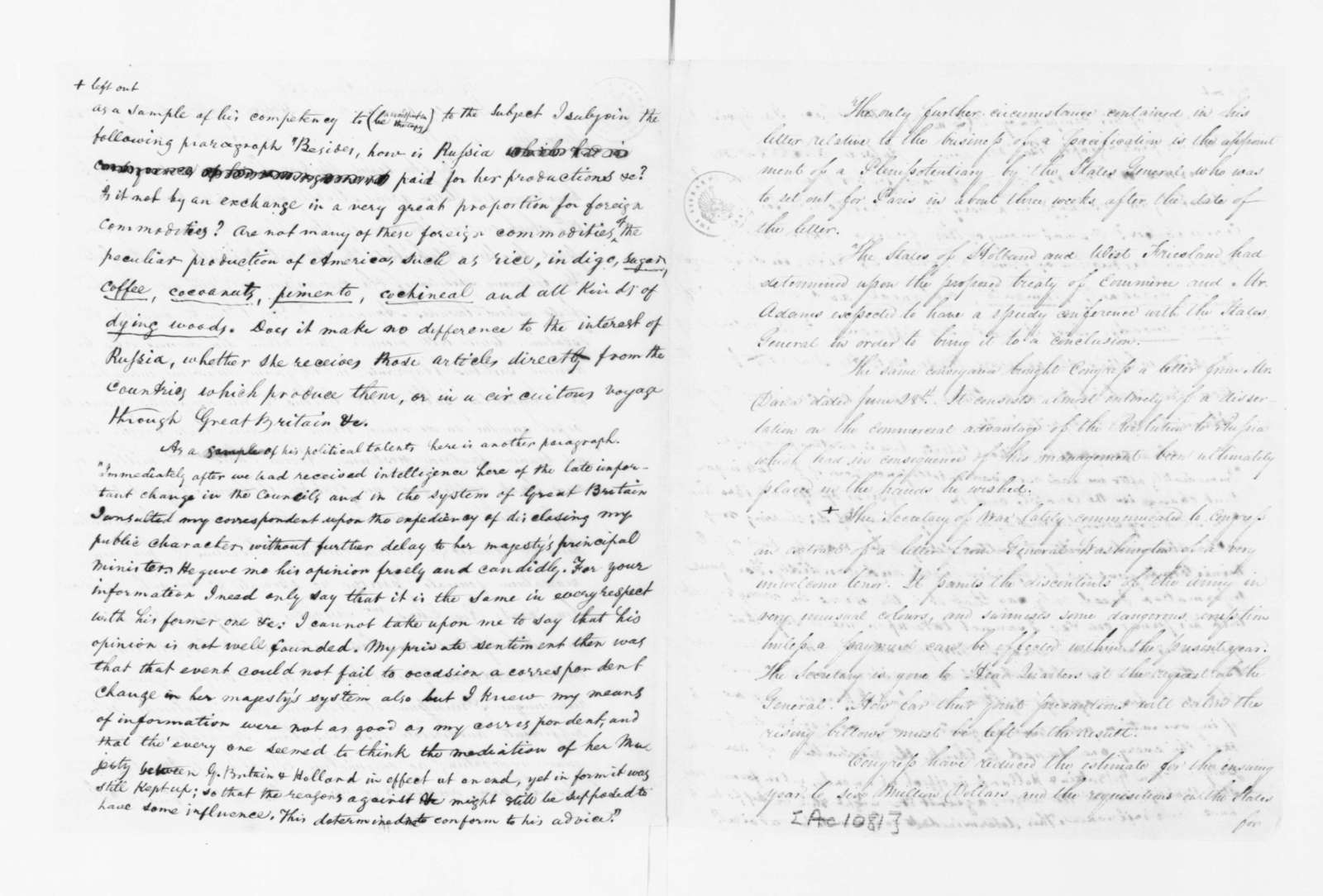 James Madison to Edmund Randolph, October 22, 1782. Partly in Cipher; with Copy.
