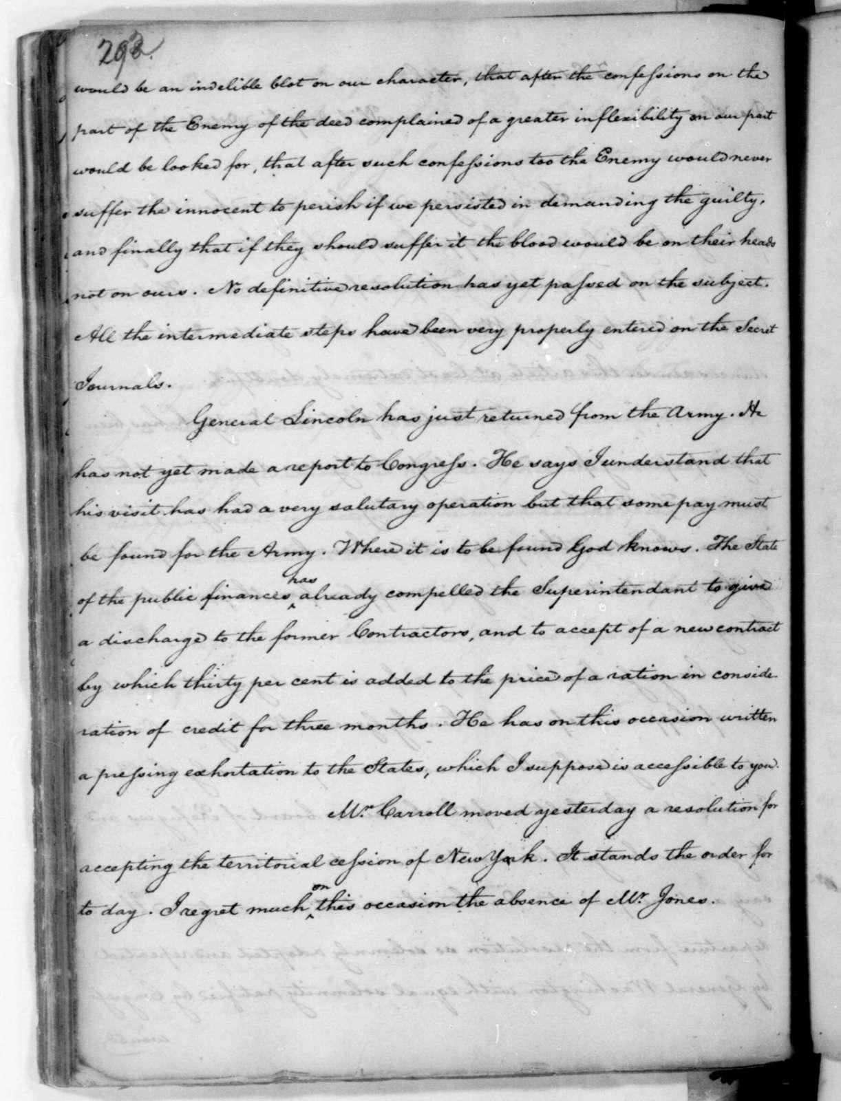 James Madison to Edmund Randolph, October 29, 1782.